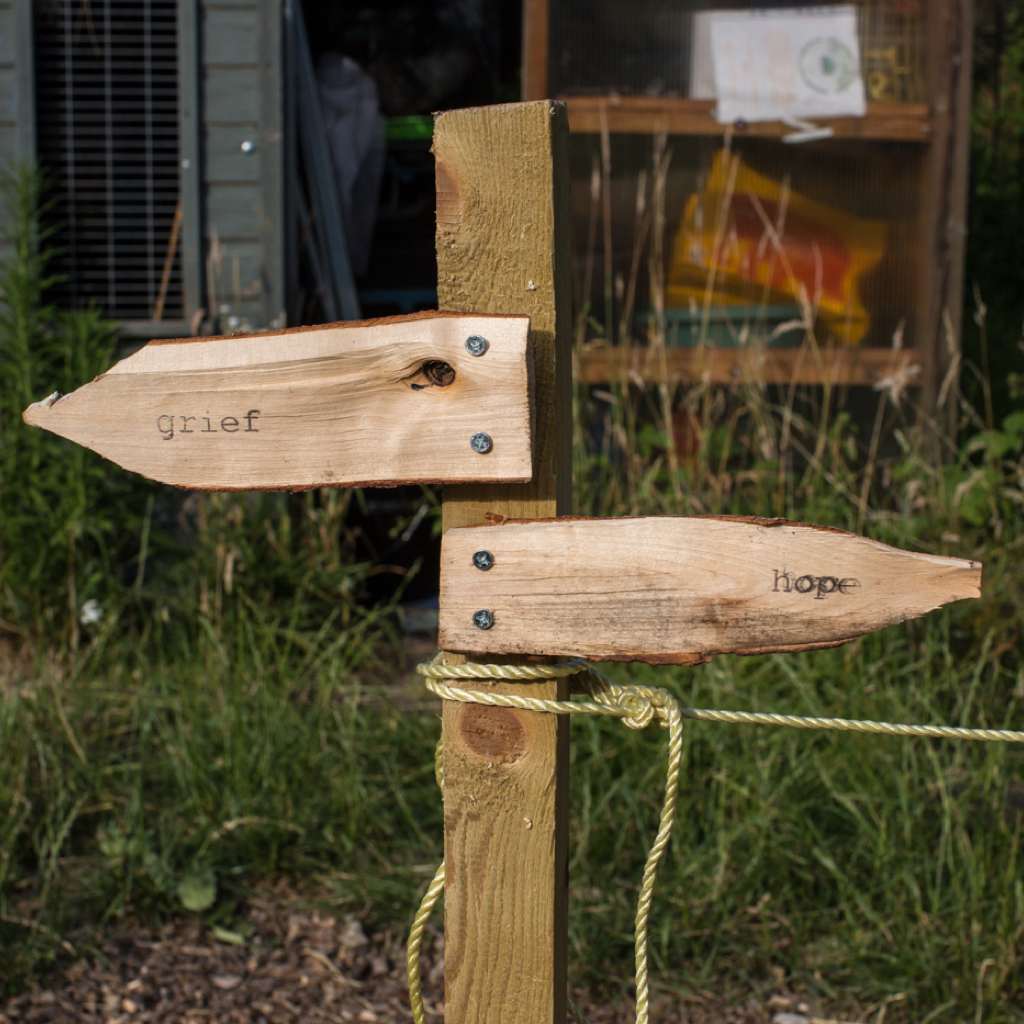 "wooden signpost facing in two directions: ""grief and hope"""