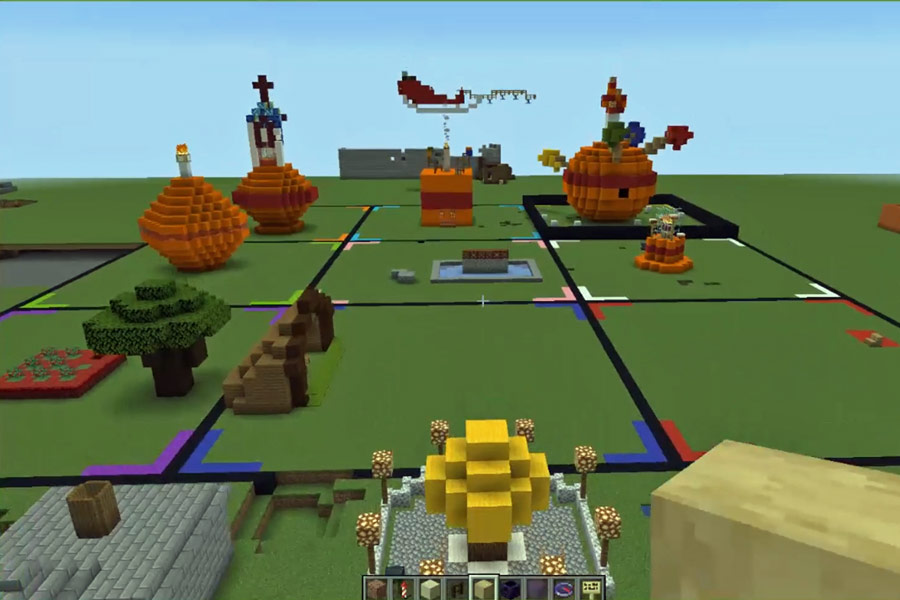 Minecraft screenshot, a green field with squares marked out and giant orange constructions