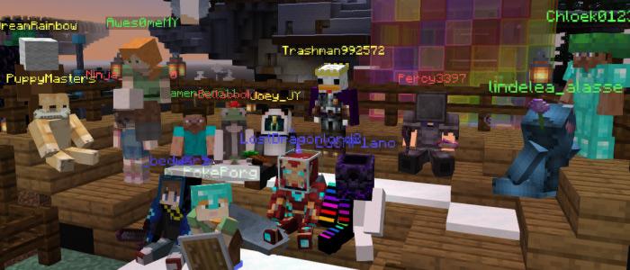 Minecraft screenshot: players' avatars gathered together