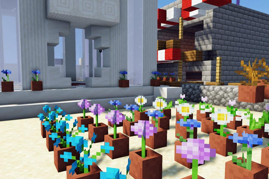 Minecraft screenshot: rows of flowers in plant pots