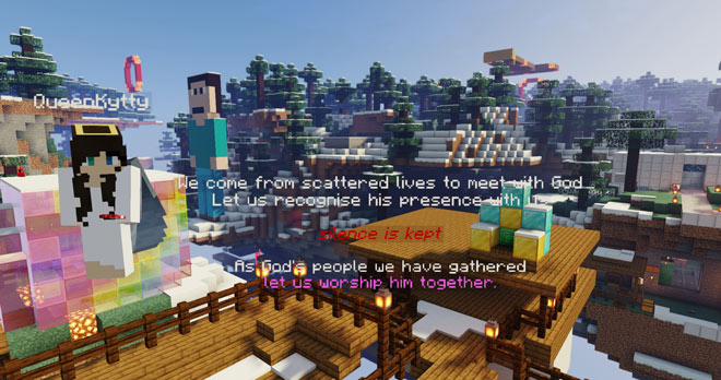 Minecraft screenshot: avatars cluster near text of prayers superimposed on buildings and landscape