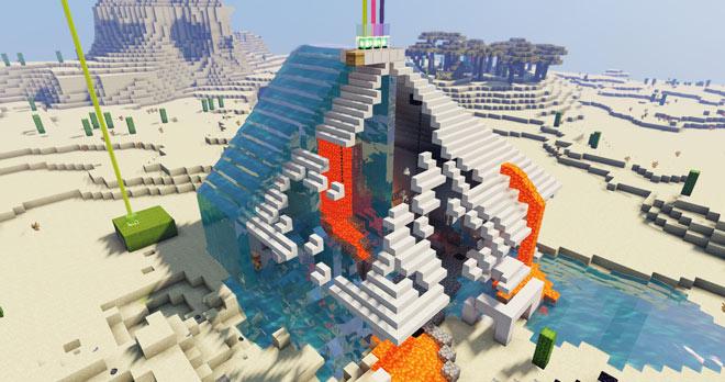 Minecraft screenshot: large building apparently disintegrating