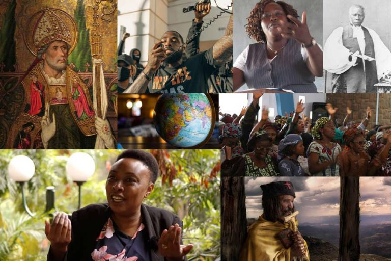 Montage: St Augustone, Black LIves Matter protestors, black woman teaching, Bishop Samuel Ajayi Crowther, Anglican pentecostal church service in Nigeria, Ethiopian Orthodox priest, Lucy Ochieng of CMS-Africa; globe