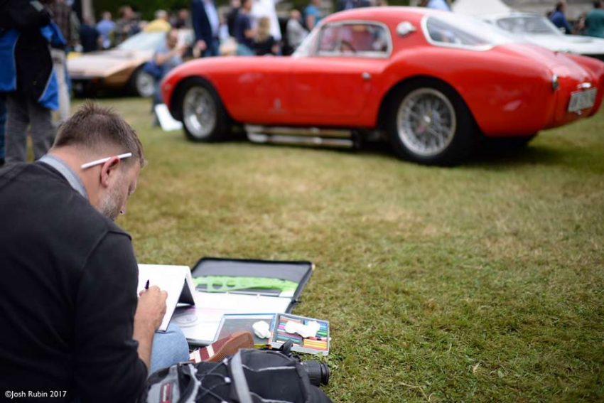 Adam sketching at a classic car event. Image copyright © Josh Rubin 2017