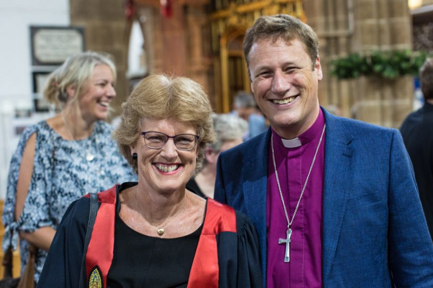 Dr Cathy Ross with the Rt Rev Martyn Snow, Bishop of Leicester