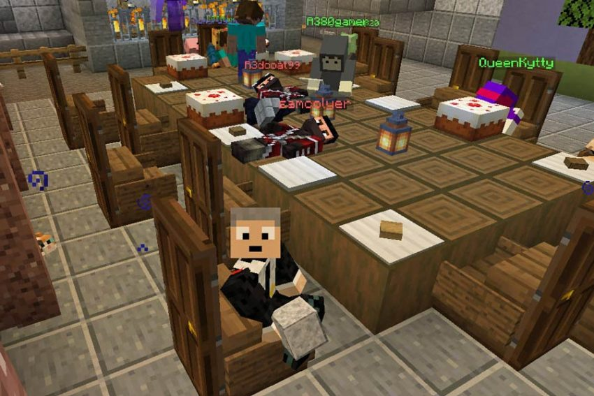 Screenshot from Minecraft game with characters seated round a table