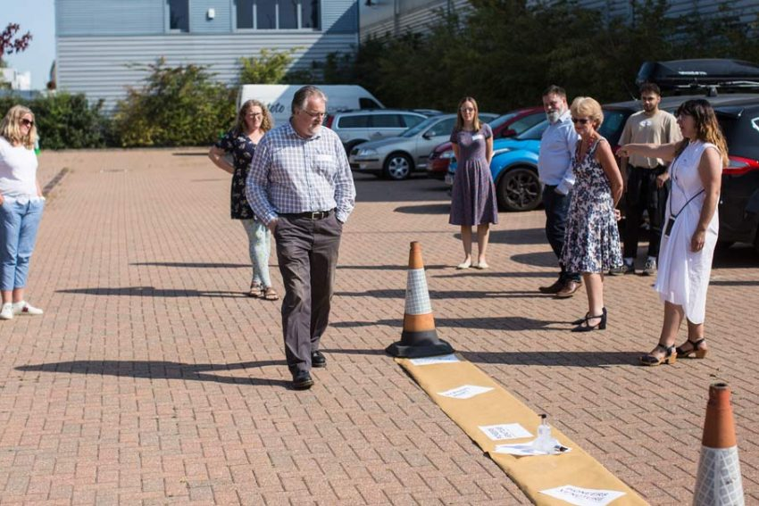 New students place themselves on the 'pioneer spectrum' in the CMS car park