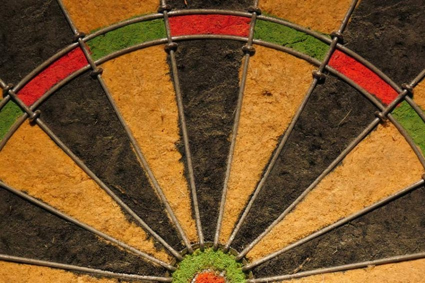 top half of mossy-looking dartboard
